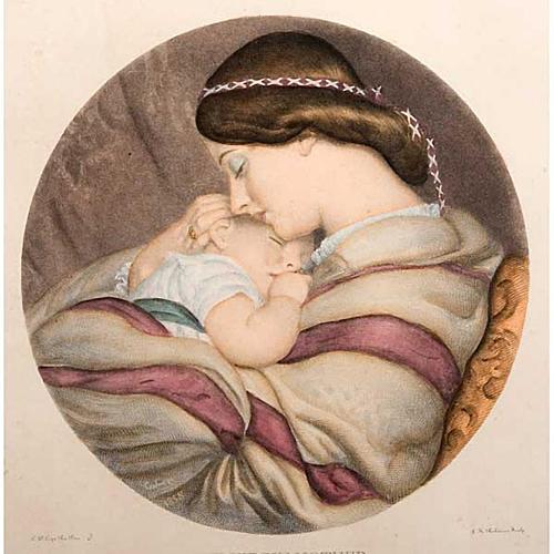 Madre con niño estampa florentina 3