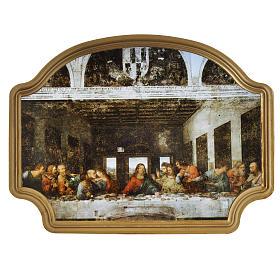 Tableau Dernière Cène cadre doré 27x20 cm s1