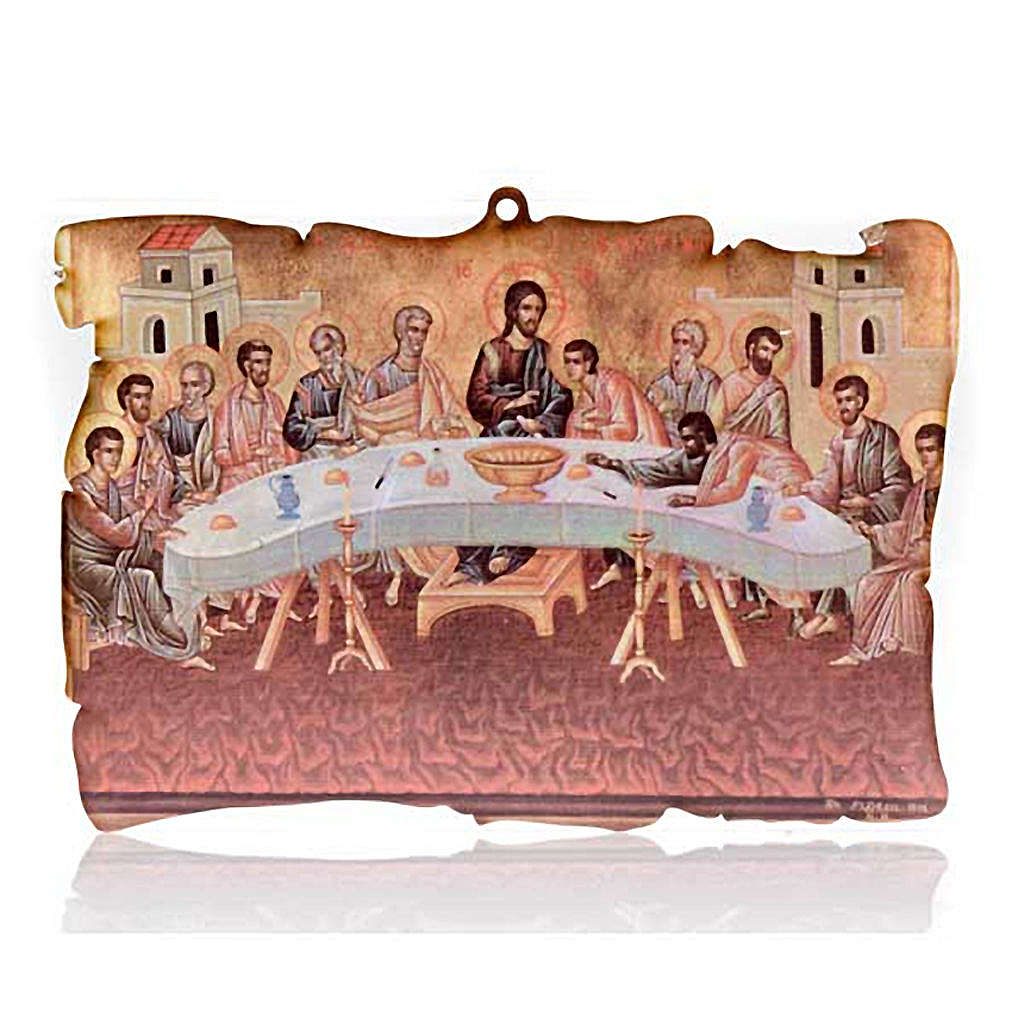 Small picture on wood Last Supper parchment 3