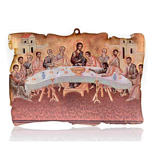 Small picture on wood Last Supper parchment 1