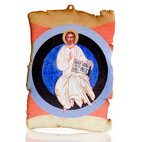 Quadretto legno pergamena Cristo nella gloria 1