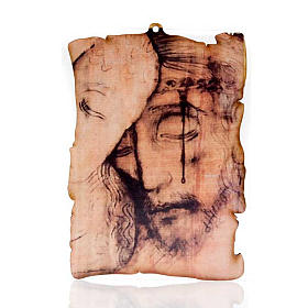 Paintings, printings, illuminated manuscripts: Small picture on wood Christ face parchment