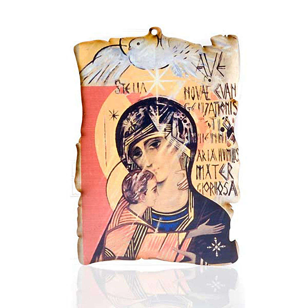Quadretto legno pergamena Maria con Spirito Santo 3
