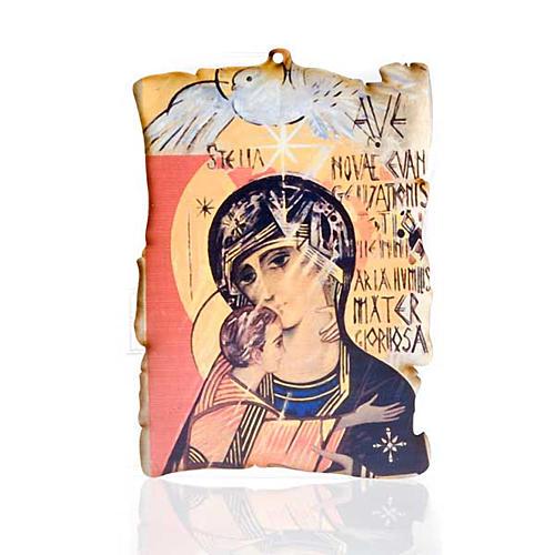 Quadretto legno pergamena Maria con Spirito Santo 1