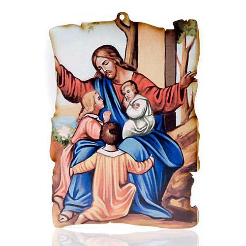 Quadretto legno pergamena Gesù e bambini 1