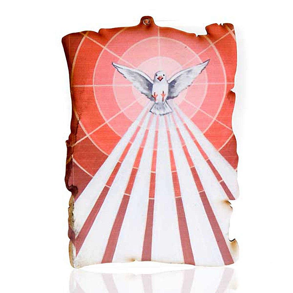 Quadretto legno pergamena Spirito Santo 3