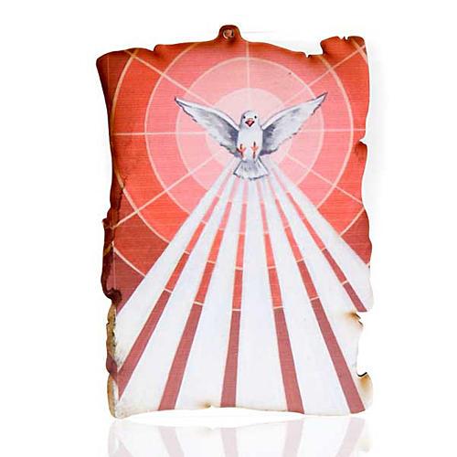 Quadretto legno pergamena Spirito Santo 1