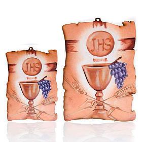 Quadretto in legno pergamena Calice uva IHS s1