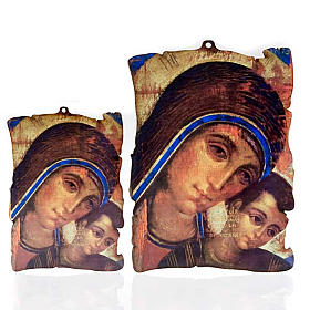 Paintings, printings, illuminated manuscripts: Small picture on wood Mary and baby Jesus parchment