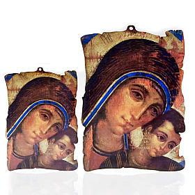 Petit tableau en bois Marie et enfant Jésus parchemin s1