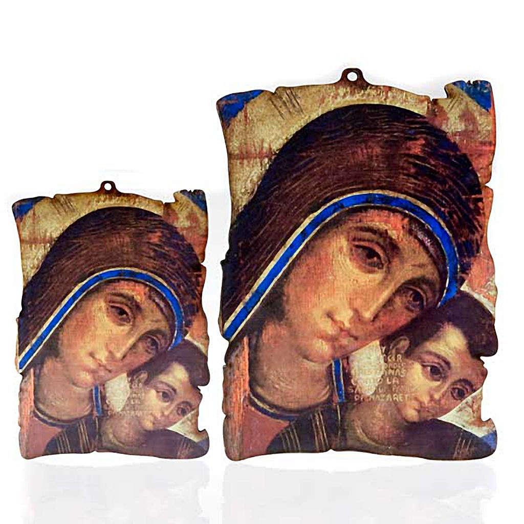 Quadretto legno pergamena Maria con Gesù 3
