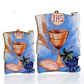 Tableaux, gravures, manuscrit enluminé: Petit tableau en bois calice raisin parchemin fond azur