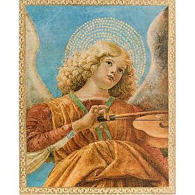 Tableaux, gravures, manuscrit enluminé: Ange avec mandoline sur bois