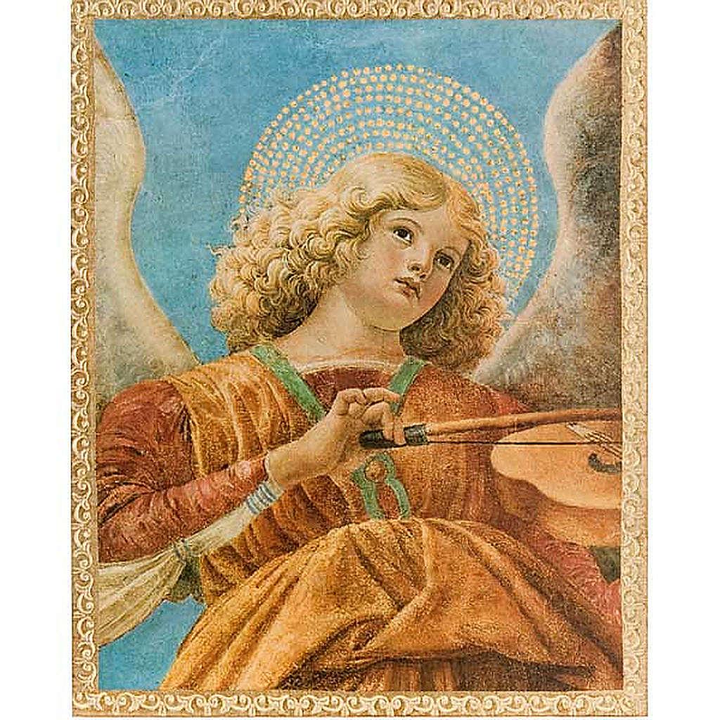 Stampa legno Angelo con Mandolino con cornice 3