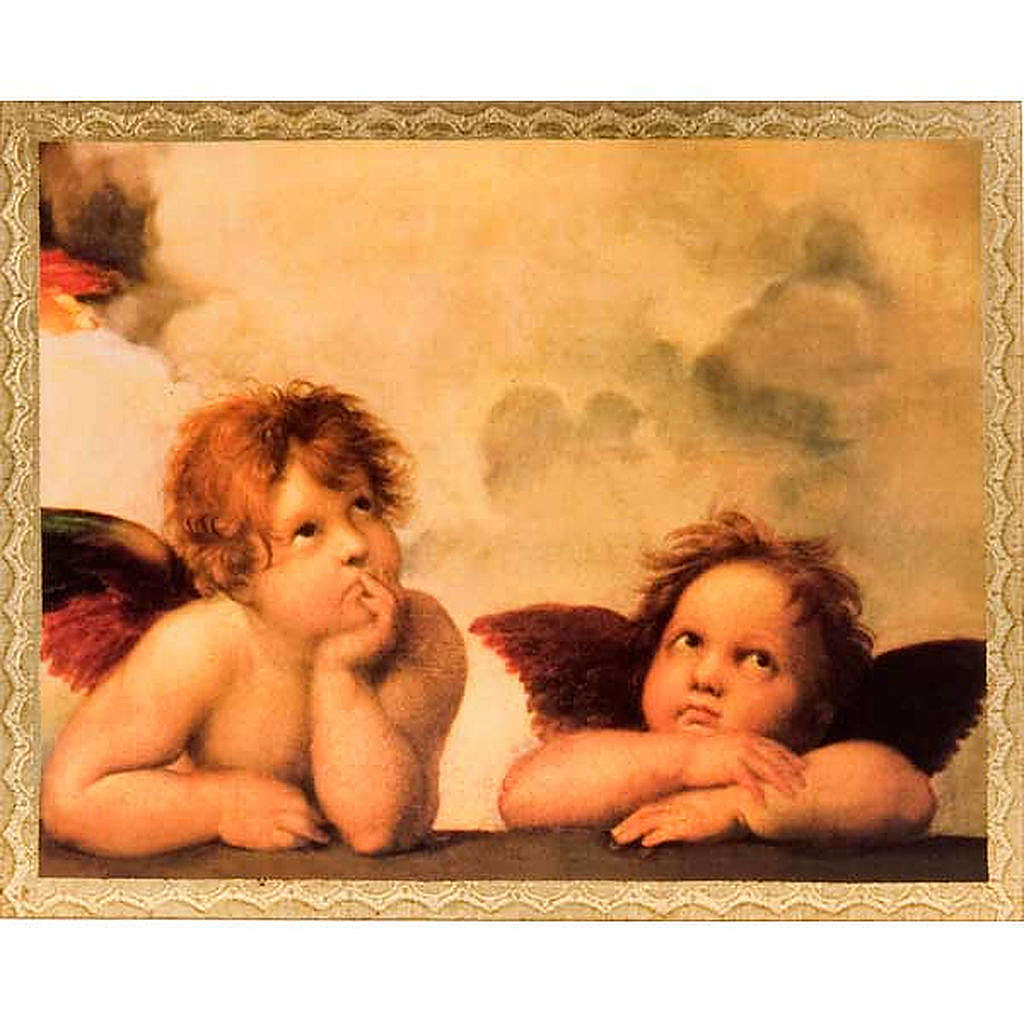 Print on wood, Raffaello's Angels with frame 3