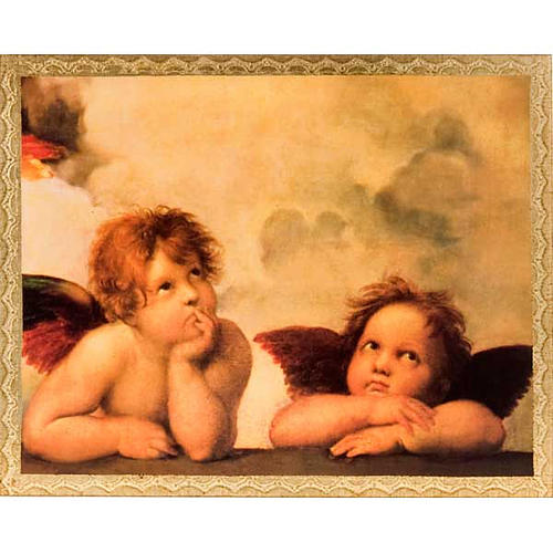 Print on wood, Raffaello's Angels with frame 1