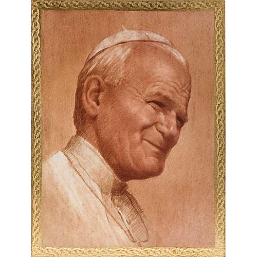 Image Jean Paul II imprimée sur bois avec cadre 1