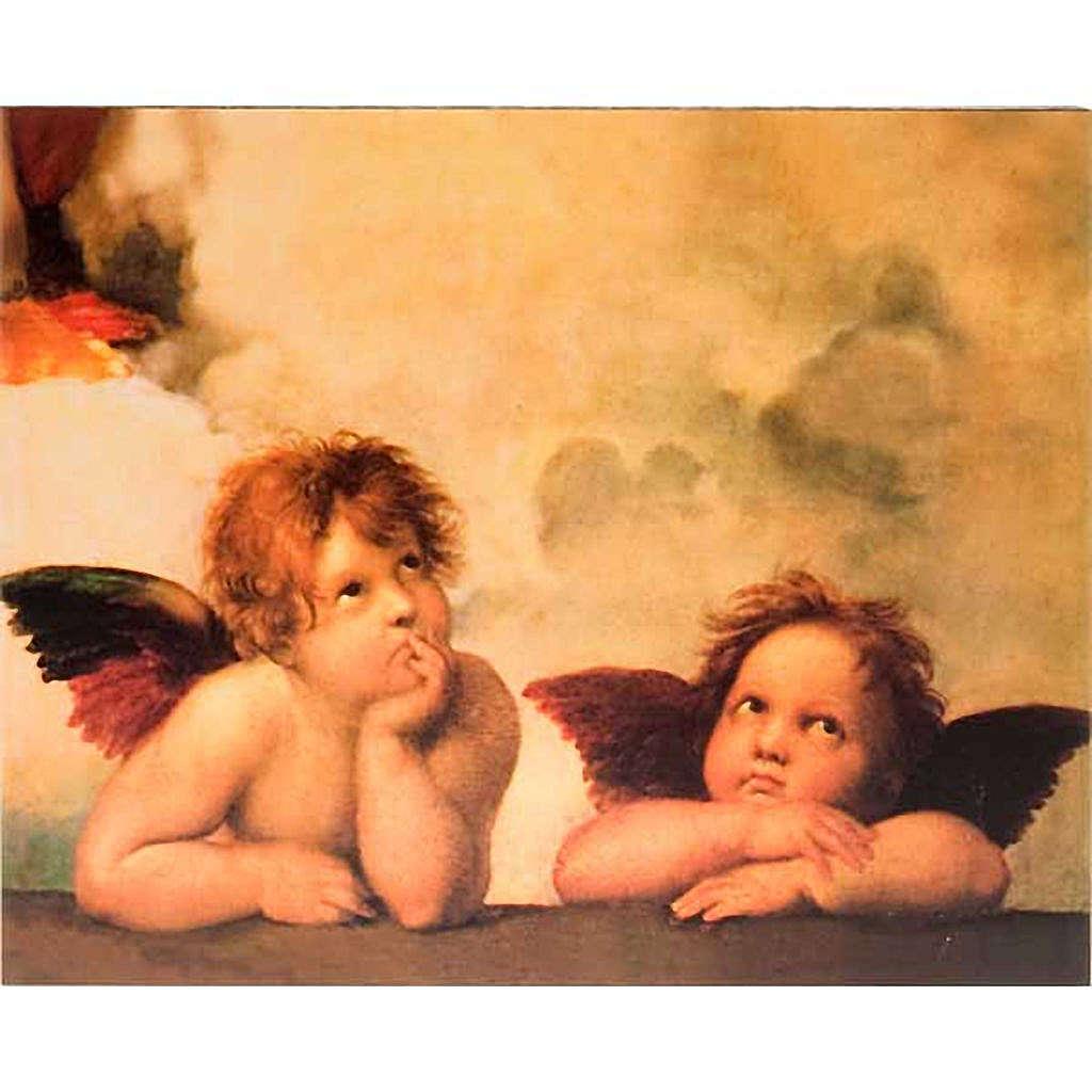 Stampa legno Angeli di Raffaello 3