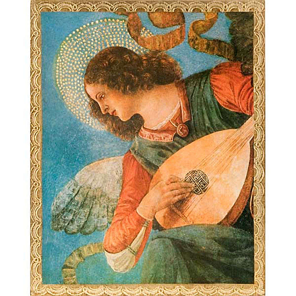 Print on wood, Angel with mandolin 3
