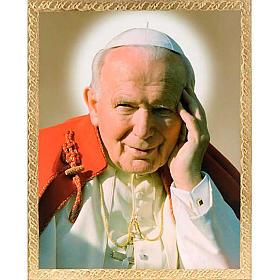 Stampa Papa Giovanni Paolo II legno con cornice s1