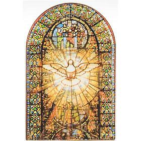Quadri, stampe, codici miniati: Stampa Spirito Santo stondato vetrata colorata