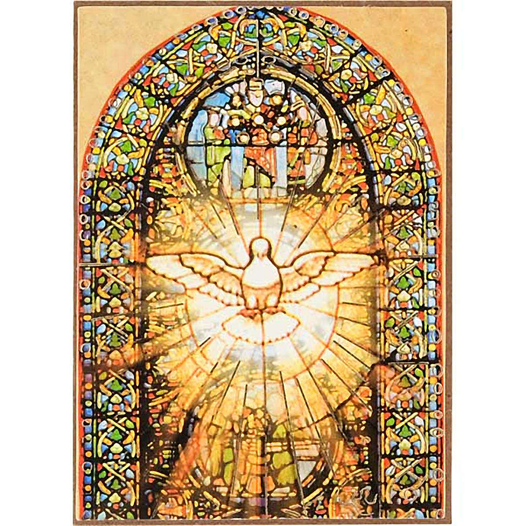 Stampa Spirito Santo legno vetrata colorata 3