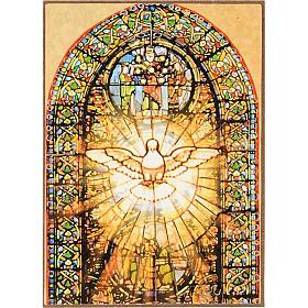Stampa Spirito Santo legno vetrata colorata s1