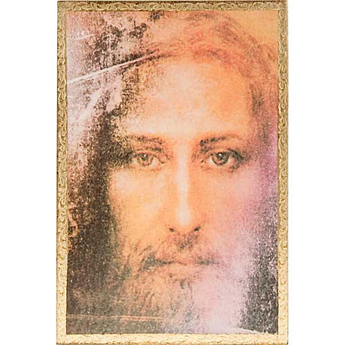 Print on wood, Face of Jesus of the Shroud with frame 1