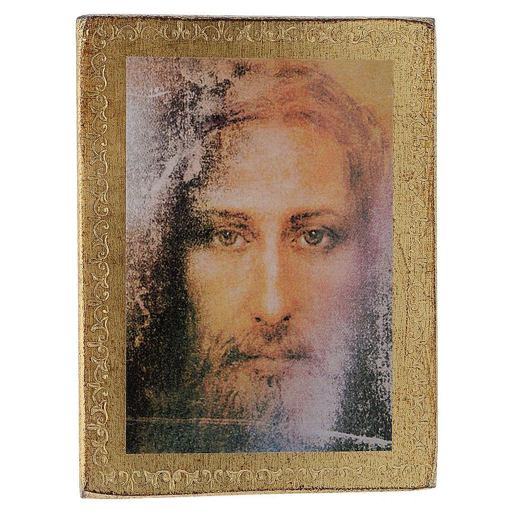 Estampa madera Rostro de Jesús con marco dorado 3