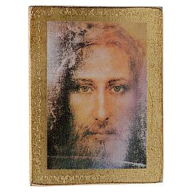 Estampa madera Rostro de Jesús con marco dorado s4