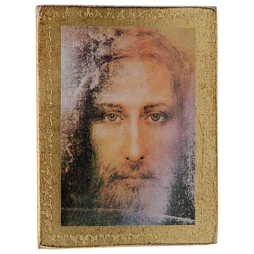 Estampa madera Rostro de Jesús con marco dorado 1