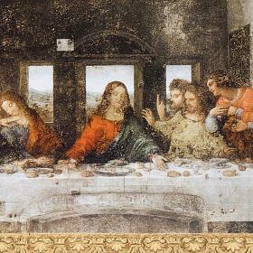 Estampa Última Cena Leonardo marco dorado s2