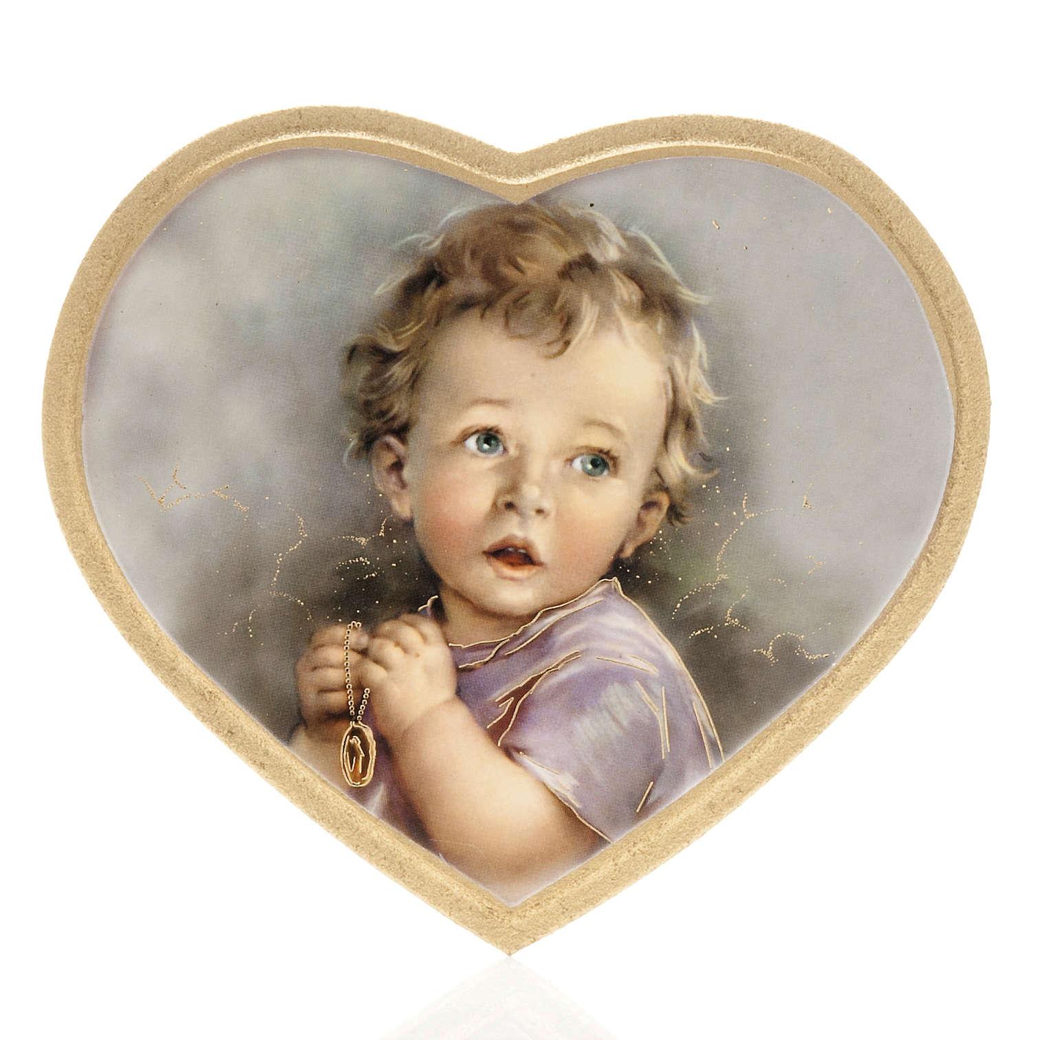 Enfant qui prie impression sur bois cadre coeur 3