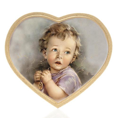 Enfant qui prie impression sur bois cadre coeur 1