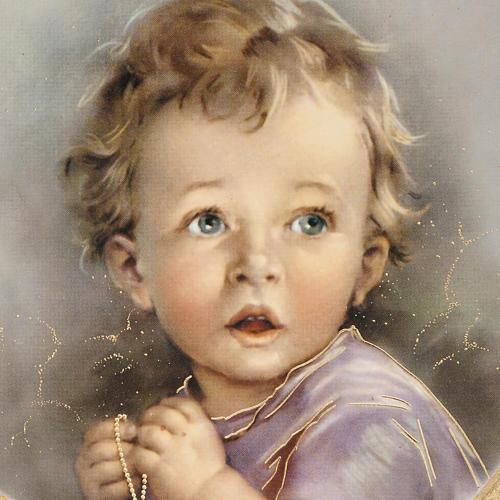 Enfant qui prie impression sur bois cadre coeur 2