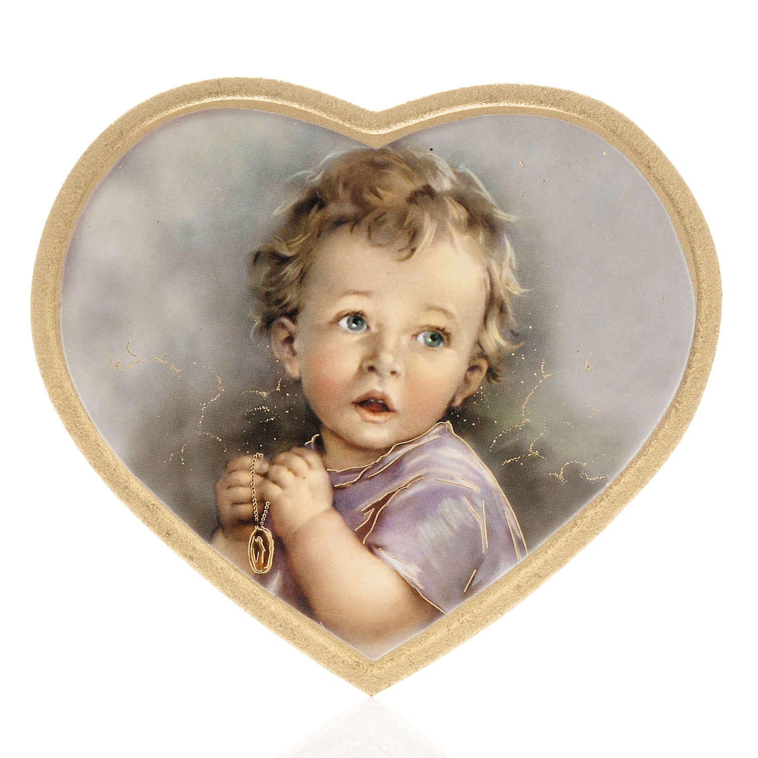 Print on wood, heart shaped with baby, grey background 3