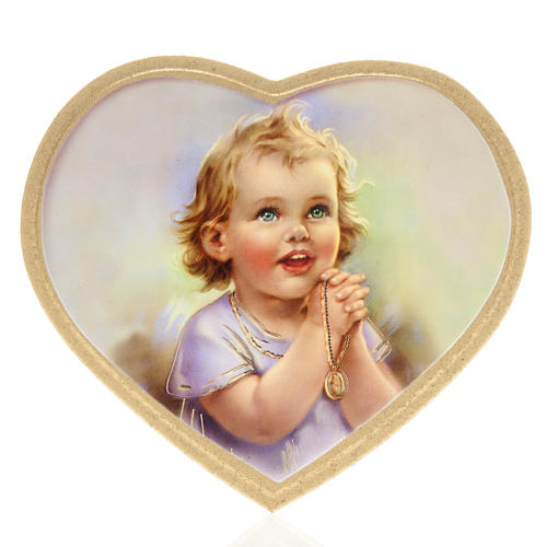 Print on wood, heart shaped with baby, coloured background 1