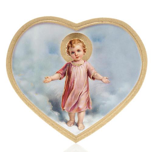 Impressão madeira coração Menino Jesus 1