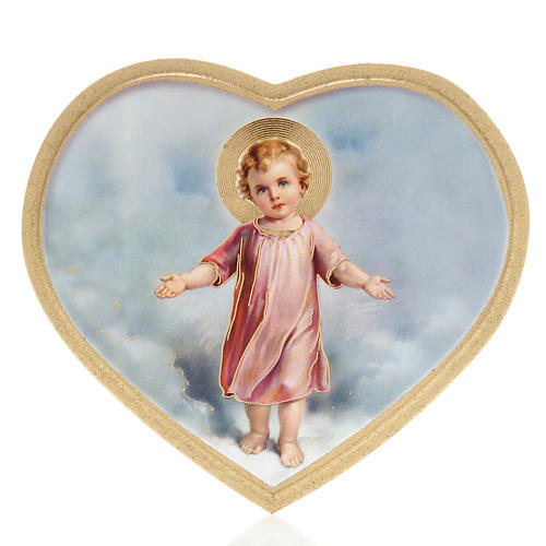 Print on wood, heart shaped with baby Jesus 1