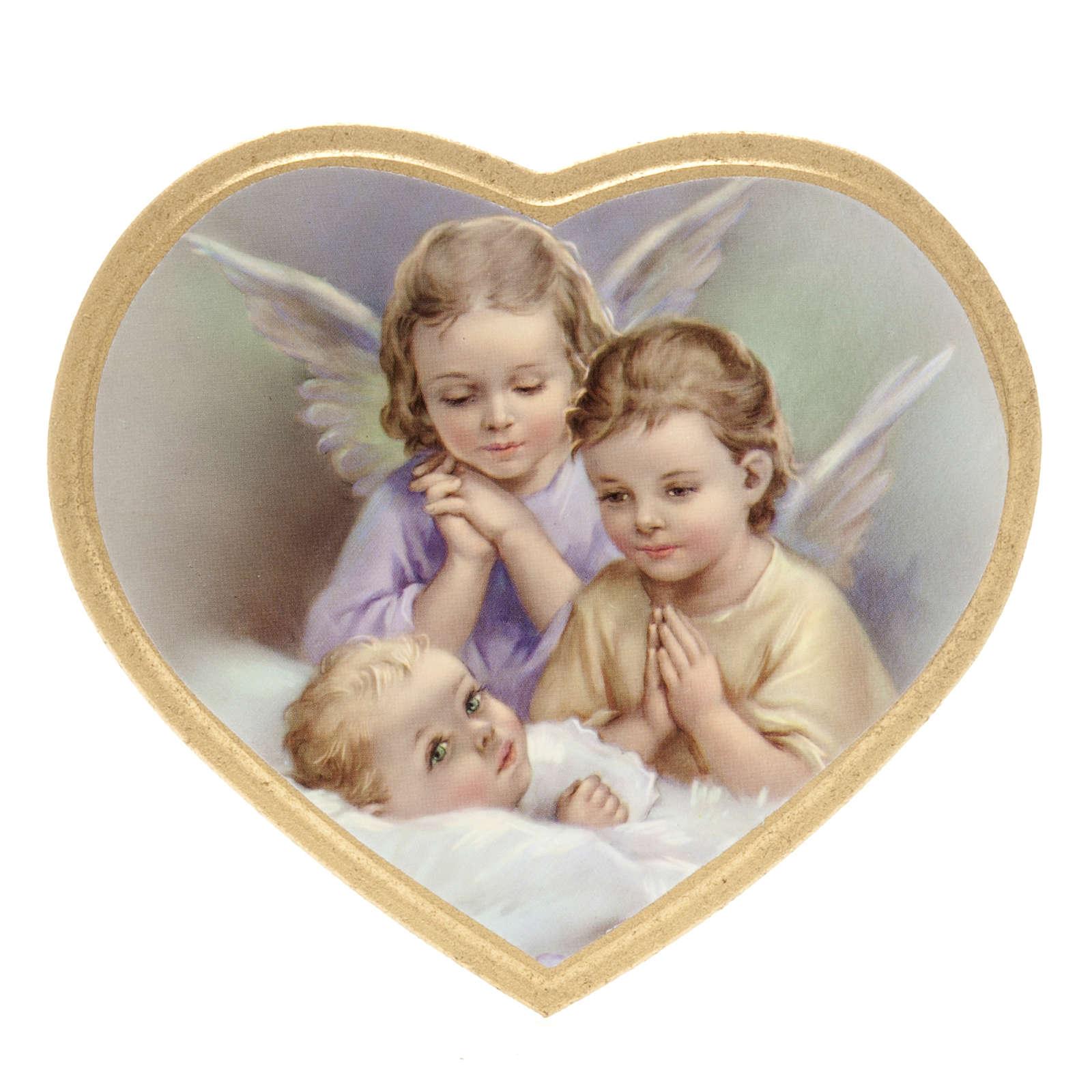 Anges et enfant impression sur bois cadre en coeur 3