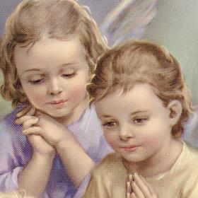 Anges et enfant impression sur bois cadre en coeur s2