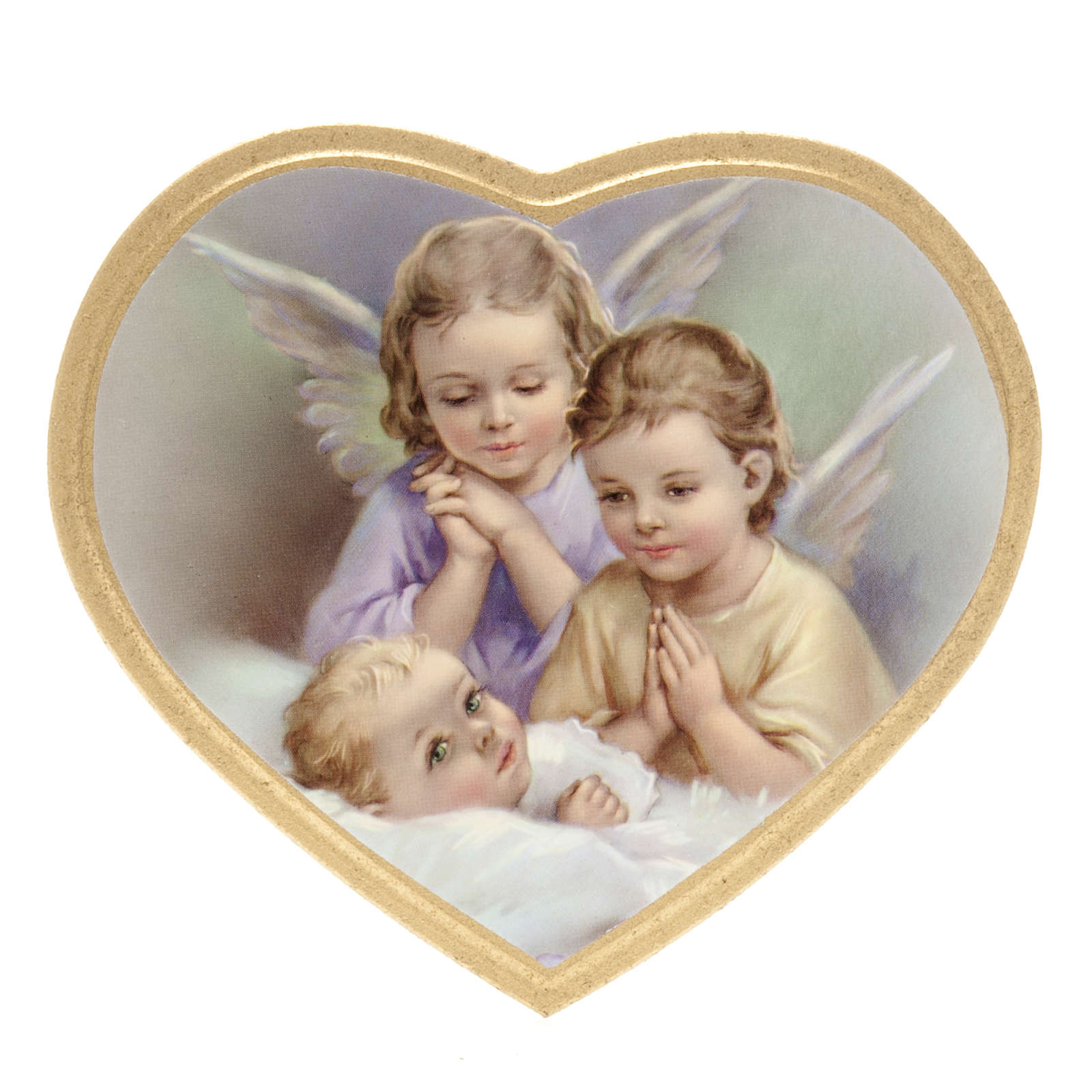 Print on wood, heart, 2 angels with baby 3