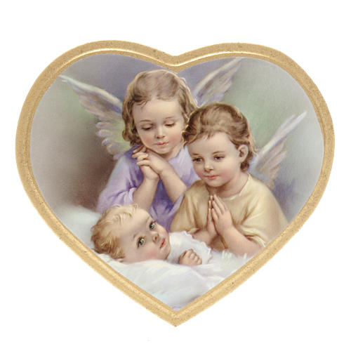 Print on wood, heart, 2 angels with baby 1
