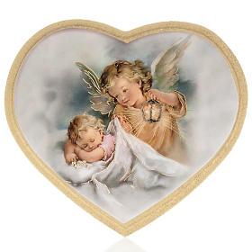 Estampa sobre madera corazón Ángel de la Guarda s1