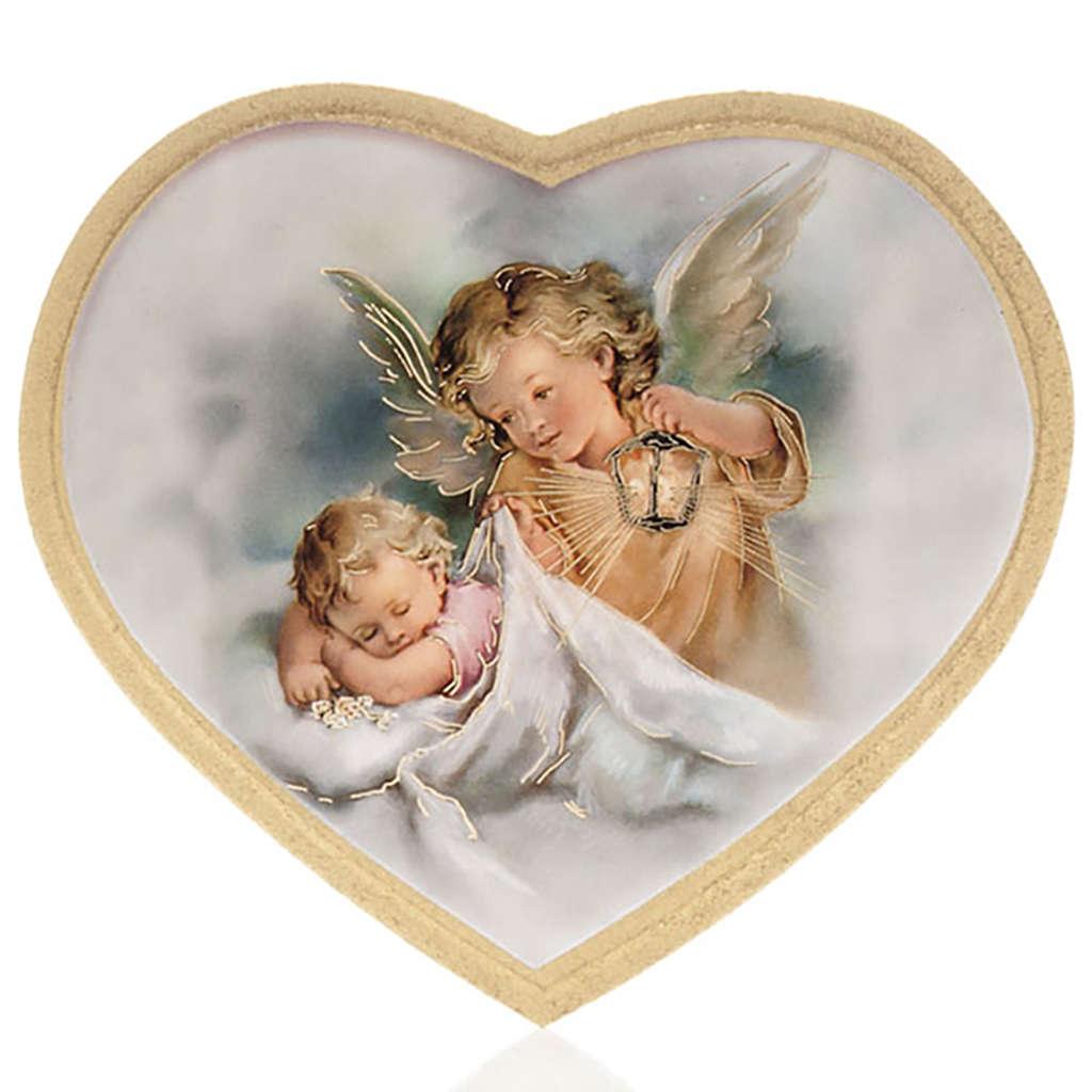 Enfant et ange gardien impression bois cadre en coeur 3