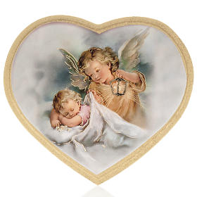 Enfant et ange gardien impression bois cadre en coeur s1
