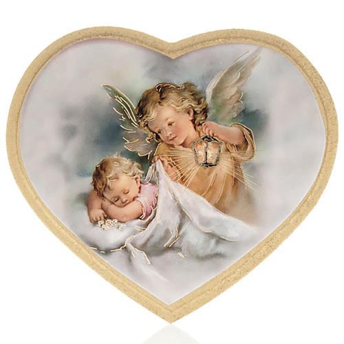 Enfant et ange gardien impression bois cadre en coeur 2