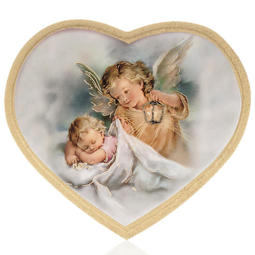 Print on wood, heart, guardian angel with baby 1