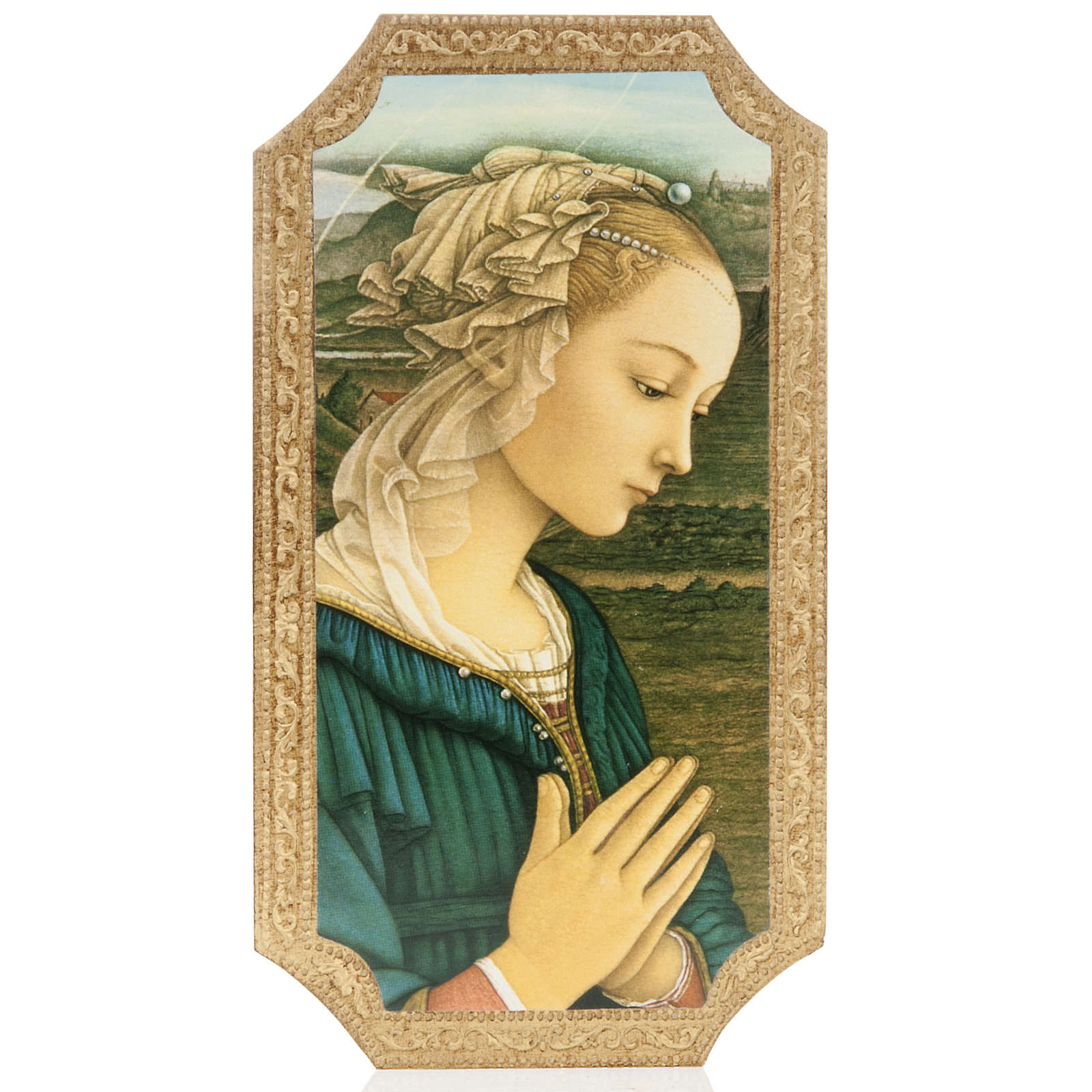 Print on wood, moulded, with Lippi's Madonna 3