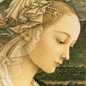 Print on wood, moulded, with Lippi's Madonna s2